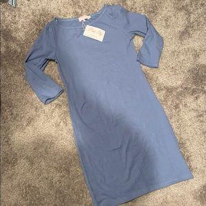Dusty Blue Pink Lily Dress